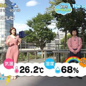 貴島明日香アナの下半身に、強風でスカートが張り付く!