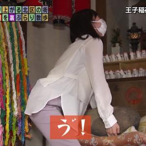 田中瞳アナ 石を持ち上げる腰つき!