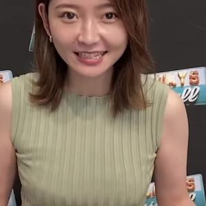 竹﨑由佳アナ ノースリのニットでおっぱい強調!!