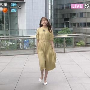 貴島明日香キャスター スカートがまとわりついて太股のラインがくっきり!!
