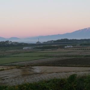 モルゲンロートに染まる岩手山を見ながら・・・