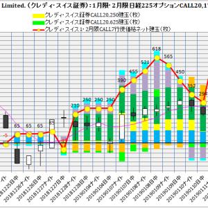 2月限日経225オプション建玉:主要24社日経225オプション建玉損益分析:2019年1月21日(月)現在