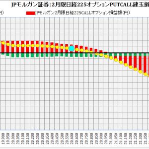 J.P.Morgan Securities Japan Co., Ltd.:J.P.モルガン証券2月限日経225オプション建玉損益分岐点:2019年1月22日(火)現在