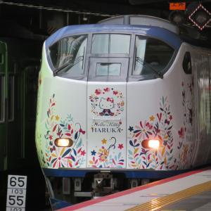 JR新大阪駅にて(2020年7月28日撮影)特急列車と223系新快速