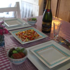 週末お家ご飯〜帆立とエビのパプリカソース