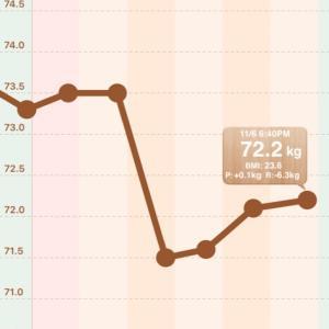 【男の減量】72.1→72.2kg【2020/11/06】