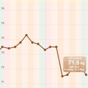 【男の減量】72.2→71.6kg【2020/11/07】
