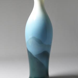 オールドノリタケ   戦前ボーンチャイナ  夕闇に沈む深山のモチーフの花瓶
