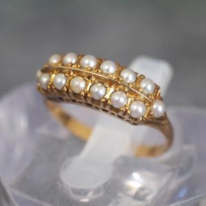K18製 三越製 芥子玉真珠の一文字リング 明治後期〜大正初期