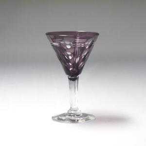 紫被せカットガラス  リキュールグラス6客 共箱付き 昭和10〜15年頃