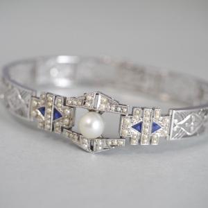 K14WG製 御木本真珠店製  サファイアと芥子玉真珠のブレスレット アール・デコデザイン
