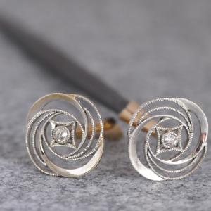 K18製 尼伊宝石店製 薔薇の意匠のモダンな両天笄(りょうてんこうがい) 昭和初期