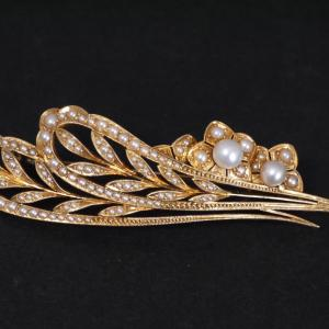 K15製 御木本真珠店製 アールヌーボー調のフラワーリーフのブローチ 大正時代