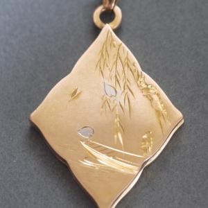 K18製 柳に桜花の懐中時計飾り 提げ物 大正15年〜昭和2年