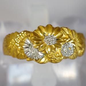 純金製 菊尽くしの高彫リング 昭和時代