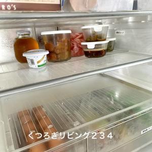 作り置きがそのまま置ける、冷蔵庫のスライドトレイをたたむと広く使えます