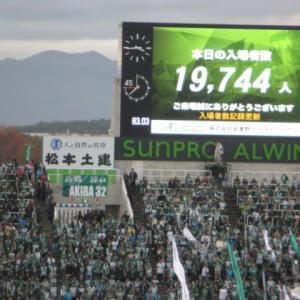 松本山雅 ・ 残り試合2いよいよ 上に行くか 下へ下がるか??