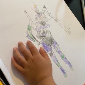 【 5歳4か月 お絵描きの記録と工作 手作りパソコン 】
