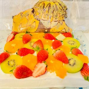 【 手作り誕生日ケーキ 鬼滅の刃フルーツデコレーションケーキ 】