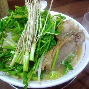 【若林区荒町・せり料理(ラーメン)・げんちゃんラーメン】仙台でよく出るせり料理、ラーメンに入れるとこうなる。シャープな味に