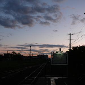 夕暮れの花咲線根室駅