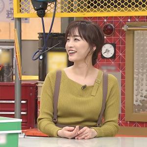 【画像】新井恵理那アナのおっぱいがサスペンダーに挟まれてエッチ過ぎる