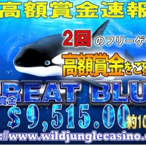 ワイルドジャングルカジノ またまたグレートブルーが出ています!!