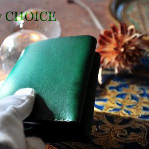 イタリアンレザー・ブッテーロ・コンパクト2つ折り財布・時を刻む革小物