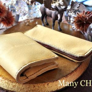 やみつきエルクの・コンパクト2つ折り財布とL型ペンケース・時を刻む革小物