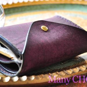 イタリアンレザー・プエブロ・2つ折りコインキャッチャー財布バイオレット・時を刻む革小物
