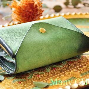 イタリアンバケッタレザー・アラスカ・2つ折りコインキャッチャー財布・時を刻む革小物Many CHOICE