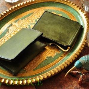 イタリアンレザー・プエブロ・マネークリップと名刺入れ・時を刻む革小物