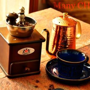 ザッセンハウスコーヒーミルとカリタ銅ポットと新作鍋つかみ。