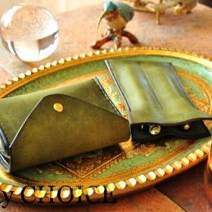 イタリアンレザー・プエブロ・2つ折りコインキャッチャー財布と2本差しペンケース