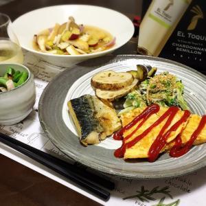 野菜8種とお魚、卵のおうちごはん。