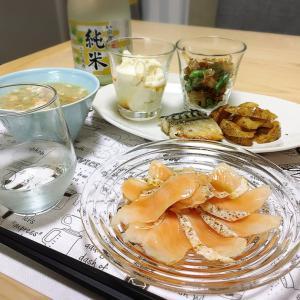 和風献立で日本酒。