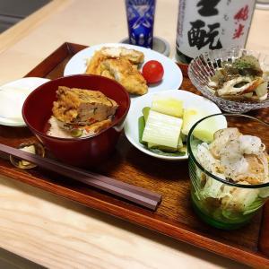 おうちにあるもので、日本酒のアテ。