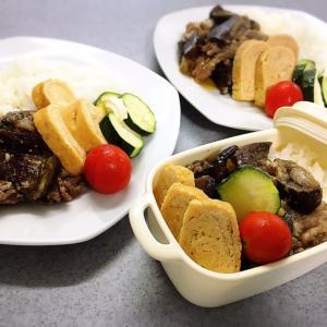 牛肉と茄子のピリ辛炒めのランチプレート×2&今日のお弁当