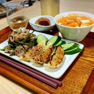 空芯菜と豚肉の炒めの献立。