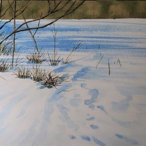 1月の教室、雪景色過程その他