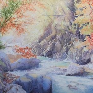 奥多摩の紅葉の絵と、今開催中の汀ギャラリーの様子・お知らせ