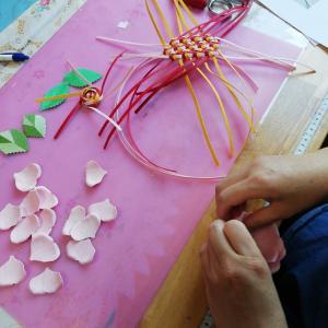 花結び編みの練習と薔薇