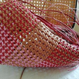 3色で斜め石畳編みを