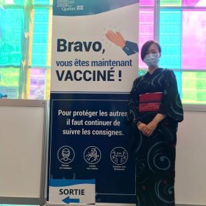 着物でコロナ・ワクチン接種 :Covid生活 in Montreal