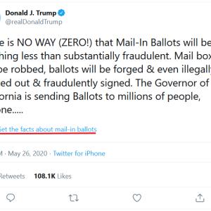 トランプ大統領のツイッターにファクトチェックがついちゃった!追記、日経に書かれていました。