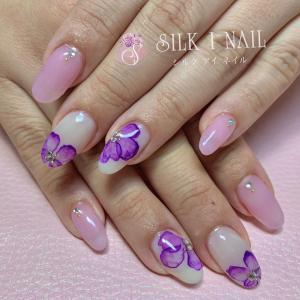 たらしこみ紫陽花ネイル