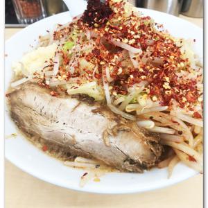 レッドスネーク麺極太・野菜増し・生姜・ニンニク抜きを啜る