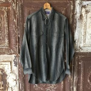 1950s Pendleton Black×Gray Shadow Stripe Wool Shirts
