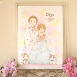 【結婚式・結婚祝】ウェルカムボード似顔絵ウェディングイラスト制作