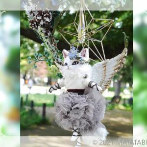 三日月リースの天使猫(ホワイト)